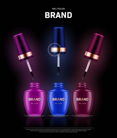 Realistic open nail polish bottles with golden lids on black background. Cosmetic brand advertising concept design Illustration