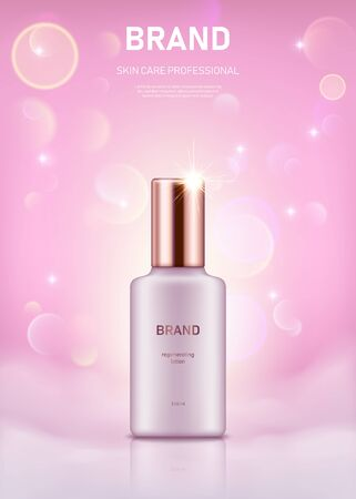 Realistic lotion bottle with golden lid on pastel pink background with bokeh lights. Advertising poster for the promotion of cosmetic skin care premium product