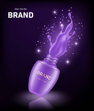 Realistic open nail polish bottle with splash on black background. Cosmetic brand advertising concept design