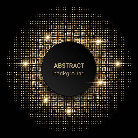 Black background with golden glittering halftone pattern. Template for new year, christmas and birthday cards or disco party invitation