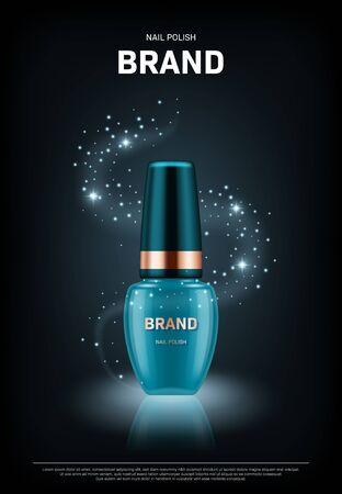 Botella de esmalte de uñas realista con tapa dorada sobre fondo negro. Diseño de concepto de publicidad de marca cosmética.