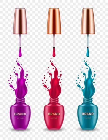 Conjunto de botellas de esmalte de uñas realistas con salpicaduras sobre fondo transparente. Elemento de diseño para cartel publicitario de marca cosmética.