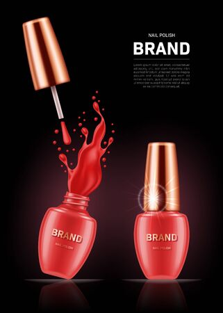 Realistic nail polish bottles with splash and golden lids on black background. Cosmetic brand advertising concept design Stock Illustratie