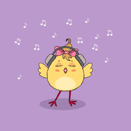 Cute chicken character wearing headphones listening music and singing. Hand drawn illustration