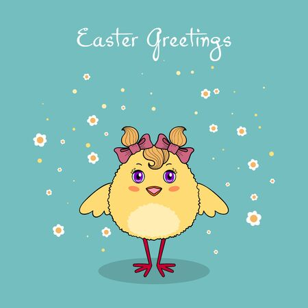 Cute chicken character on background with flowers. Easter greeting card or invitation template