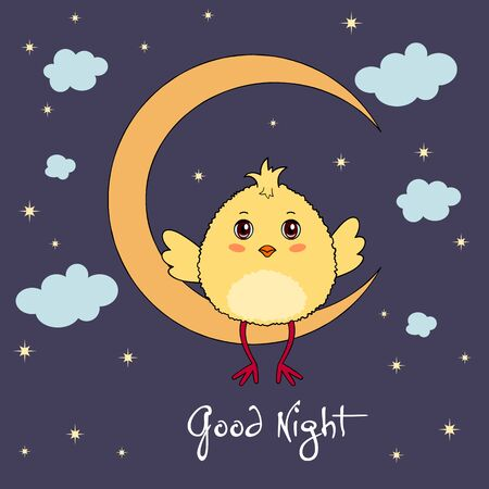 Good night. Cute chicken character sitting on the moon on dark sky background with clouds and stars