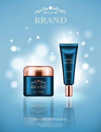 Realistische Gesichtscremedose und Serumtube mit goldenen Deckeln auf hellblauem Hintergrund mit Bokeh-Lichtern. Werbeplakat zur Bewerbung von kosmetischen Hautpflege-Premiumprodukten Vektorgrafik