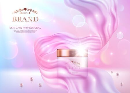 Realistische Cremedose mit goldenem Deckel auf rosa Bokeh-Hintergrund mit glattem transparentem Chiffon-Stoff. Werbeplakat zur Bewerbung von kosmetischen Hautpflege-Premiumprodukten Vektorgrafik