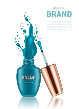 Realistic open nail polish bottle with splash and golden lid on white background. Cosmetic brand advertising concept design Illusztráció