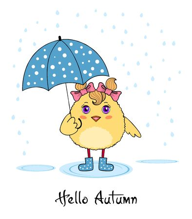 Hello autumn. Cute chicken character in boots holding an umbrella