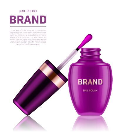 Realistic open nail polish bottle with golden lid on white background. Cosmetic brand advertising concept design Illusztráció