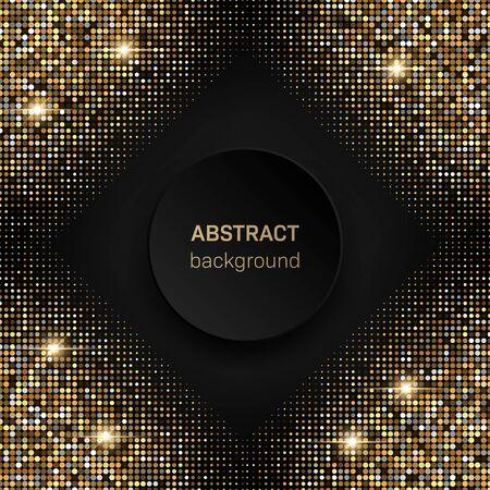 Schwarzer Hintergrund mit goldenem glitzernden Halbtonmuster. Vorlage für Neujahrs-, Weihnachts- und Geburtstagskarten oder Disco-Party-Einladung Vektorgrafik