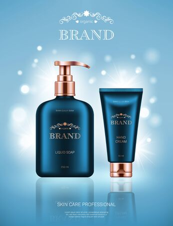 Realistic liquid soap dispenser and hand cream tube on light blue background with bokeh lights. Advertising poster for the promotion of cosmetic skin care premium product Illustration