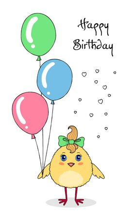Cute chicken character holding balloons. Birthday greeting card template