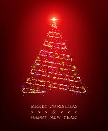 Christmas greeting card template with shiny stylized tree on red background Vectores