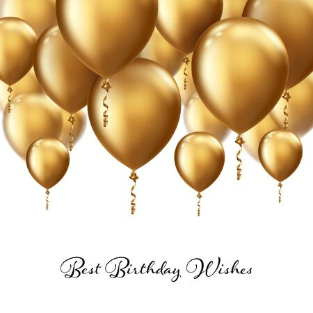 Background with realistic floating balloons. Greeting card or invitation template