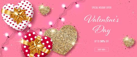 Valentines Day background with heart-shaped gift boxes, stylized hearts made of golden confetti and lights garland. Greeting card, party invitation or sale banner template Illusztráció