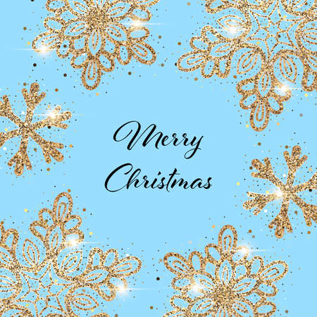 Christmas light blue background with sparkling golden snowflakes. Design element for greeting card, invitation or poster  イラスト・ベクター素材