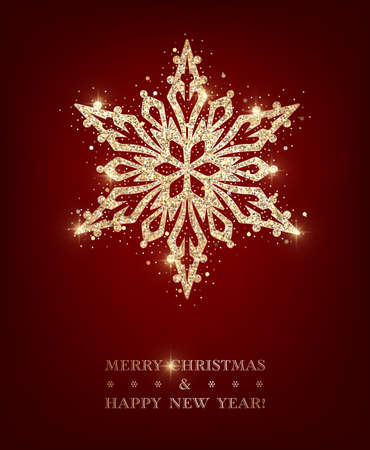 Sparkling stylized golden snowflake on dark red background. Design element for greeting card, invitation or poster