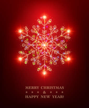 Christmas greeting card template with shiny stylized snowflake on red background