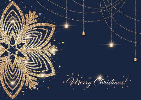 Sparkling stylized golden snowflake on dark blue background. Design element for greeting card, invitation or poster  イラスト・ベクター素材