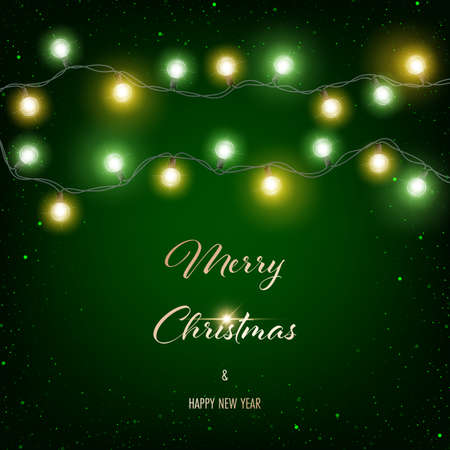Christmas glowing lights on dark green background. Greeting card, party invitation or banner template