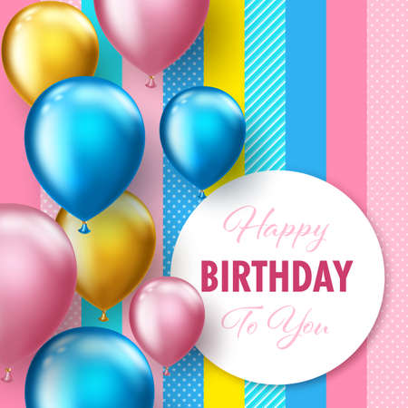 Background with colorful floating balloons. Greeting card or party invitation template Vettoriali
