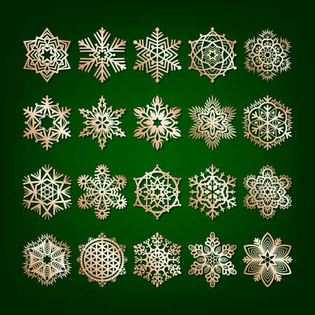 Set of golden snowflakes isolated on dark green background. Design element for greeting card, invitation or poster