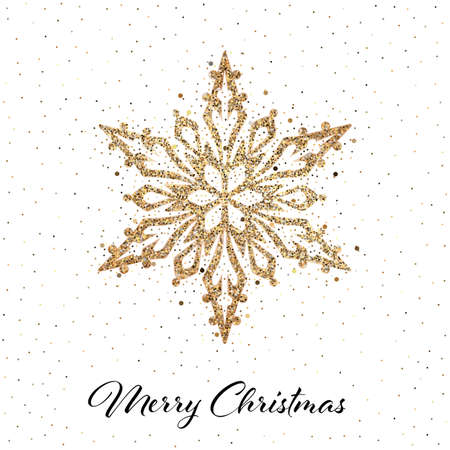 Sparkling stylized golden snowflake on white background. Design element for greeting card, invitation or poster