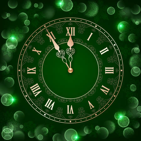 Clock face with golden numbers and sparkling hands on dark green background with snowflakes and bokeh lights. Design element for New Year greeting card or party invitation Vettoriali