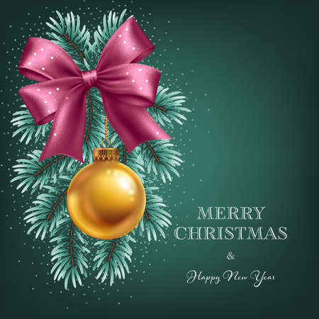 Christmas tree branches with hanging golden ball and satin pink ribbon bow. Greeting card template