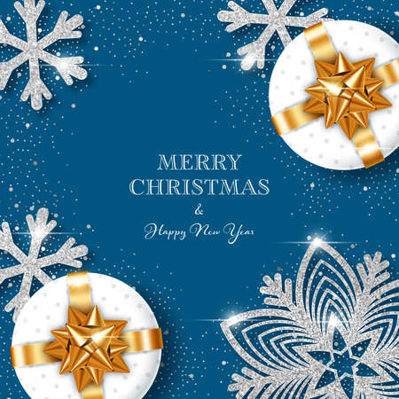 Christmas background with shiny snowflakes made of silver confetti and gift boxes. Design element for greeting card, party invitation or banner