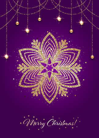 Sparkling stylized golden snowflake on dark purple background. Design element for greeting card, invitation or poster