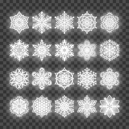 Set of white glowing snowflakes isolated on transparent background. Design element for greeting card, invitation or poster Vettoriali