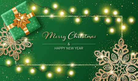 Christmas background with shiny snowflakes made of golden confetti, gift box and lights garlands. Design element for greeting card, party invitation or banner