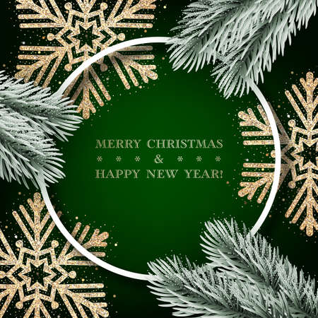 Christmas tree branches with sparkling golden snowflakes on dark green background. Design element for greeting card, invitation or poster Vettoriali