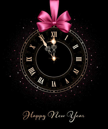 Black clock face with golden numbers and sparkling hands hanging on pink ribbon with bow. Design element for New Year greeting card or party invitation