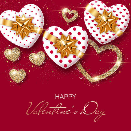 Valentines Day background with heart-shaped gift boxes and stylized hearts made of golden confetti. Greeting card, party invitation or sale banner template