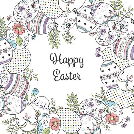 Frame of hand drawn easter eggs and flowers on white background. Greeting card or invitation template