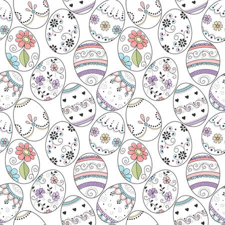 Seamless pattern of hand drawn decorated easter eggs on white background. Design element for greeting card, invitation or wrapping paper
