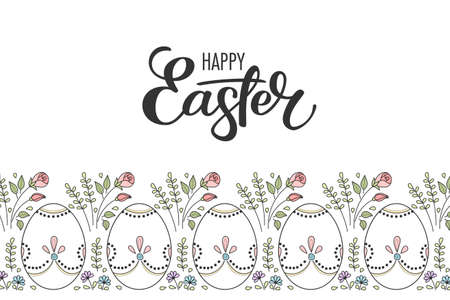 Border of hand drawn easter eggs and flowers on white background. Greeting card or invitation template