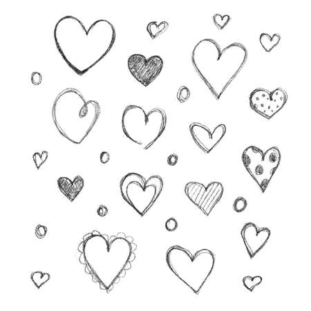 Set of hand drawn hearts isolated on white background Vector Illustration