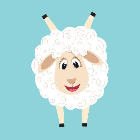 Cute fluffy sheep cartoon character. Design element for greeting card or invitation Illusztráció