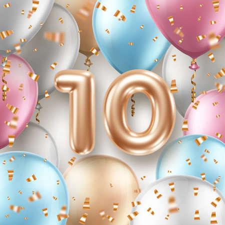 Anniversary greeting card with air balloons, golden confetti and 3d numbers