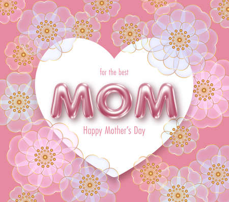 Happy Mothers day background with 3d letters and flowers. Greeting card, invitation or sale banner template Vettoriali