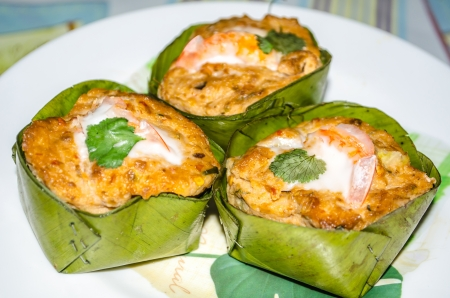 pla: Steamed fish with curry paste on banana Leaf or Thai food Ho Mok Pla