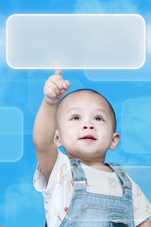 Child raises up forefinger is push button Stock Photo - 17641808