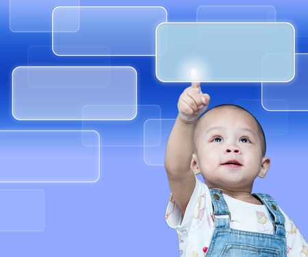 kiddy: Child raises up forefinger is push