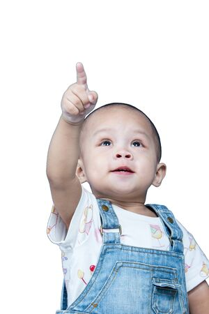 Child raises up forefinger is push Stock Photo - 17694407