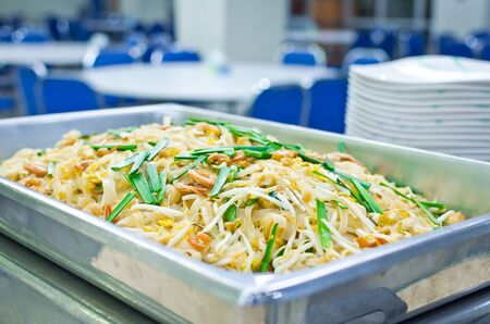 Thai food Pad thai , Stir fry noodles with shrimp and omelet, for preparation serving Stock Photo - 18513441